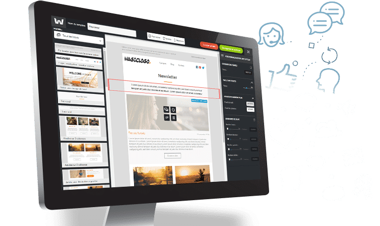 Interface de l'Email builder Welkom Editor