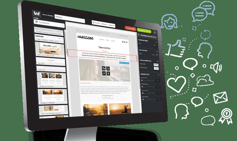 Interface de l'Email builder Welkom Editor